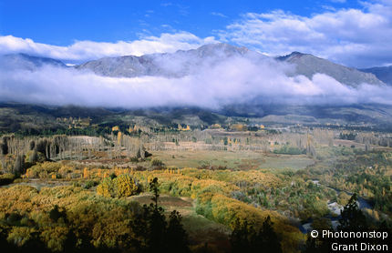 Argentina, Patagonia, El Bolson, Overhead of misty valley in autumn, near El Hoyo.