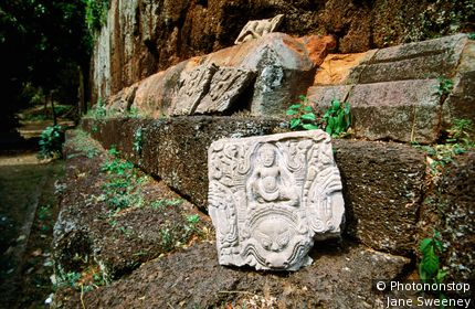 Historic carving at temple complex. Phnom Chisor, Takeo, Cambodia