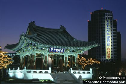 Bell pavilion and highrise at night, Daegu, South Korea, Asia
