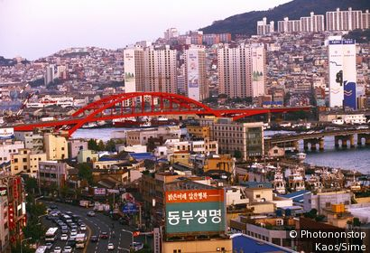 Korea, South Korea, Pusan-si, Pusan (Busan) town, view from Phoenix Hotel