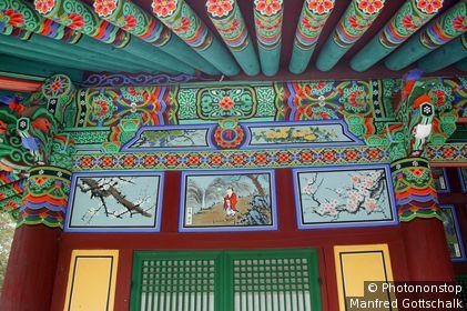 Murals at Yeonggeunsa Temple, Gongsanseong Fortress. Gongju, Chungcheongnam-do, South Korea