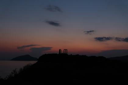 Cap Sounion : coucher de soleil sur le temple