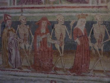 Freskenmalerei 'Der Tod behandelt alle gleich'