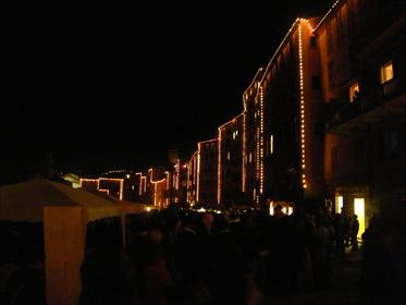 Camogli - Lungomare buildings lit on Sagra eve