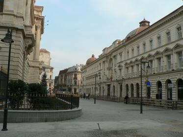 Rue Lipscani et la Banque Nationale de Roumanie