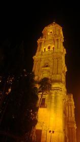 Tower of Malaga Cathedral at night