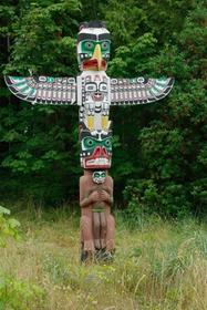 One of the totem poles in Stanley Park